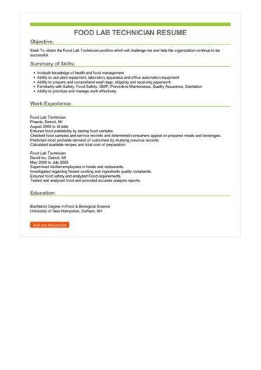 Food Lab Technician Resume Sample \u2013 Best Format