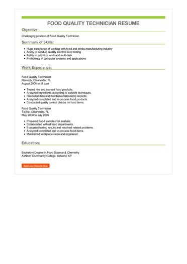 Food Quality Technician Resume Sample \u2013 Best Format