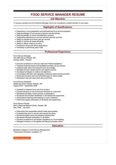 Sample Food Service Manager Resume