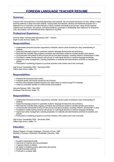 Sample Foreign Language Teacher Resume
