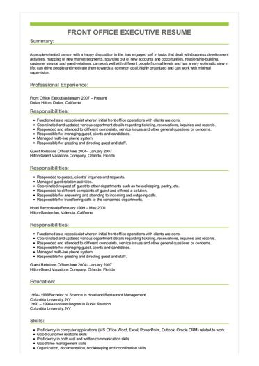Sample Front Office Executive Resume