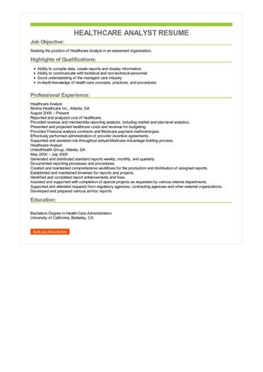 Healthcare Analyst Resume Sample \u2013 Best Format