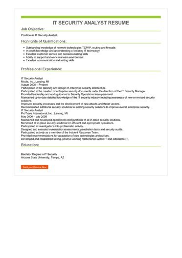 IT Security Analyst Resume Sample \u2013 Best Format
