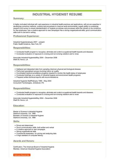 Sample Industrial Hygienist Resume