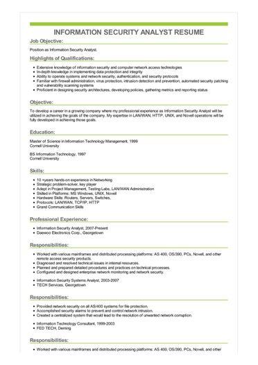 Information Security Analyst Resume Sample \u2013 Best Format