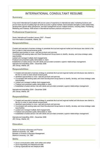 Sample International Consultant Resume