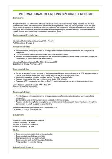 Sample International Relations Specialist Resume