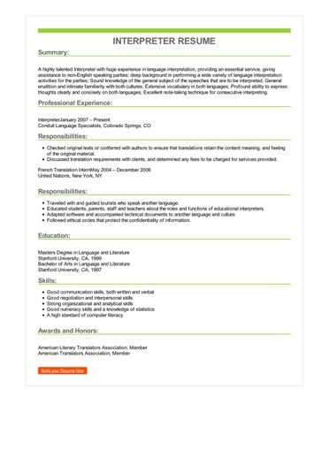 Sample Interpreter Resume