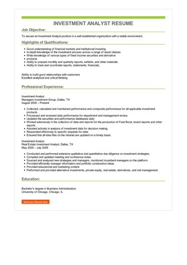Investment Analyst Resume Sample \u2013 Best Format