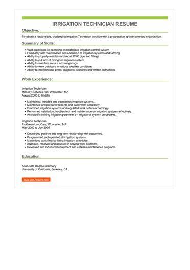Irrigation Technician Resume Sample \u2013 Best Format