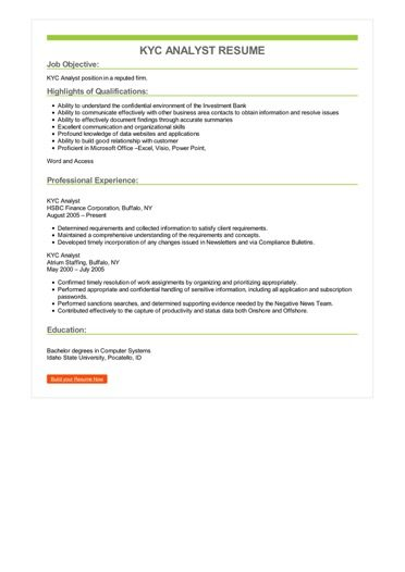 KYC Analyst Resume Sample \u2013 Best Format