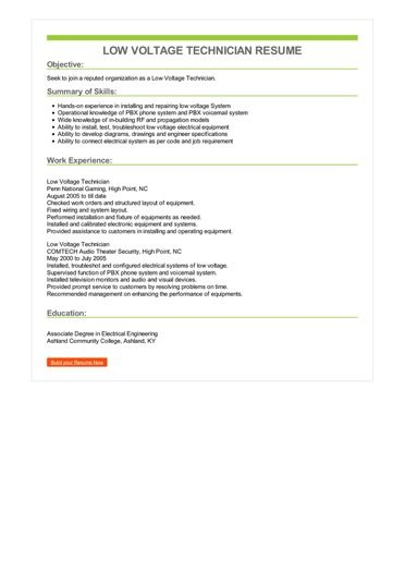 low voltage technician resume examples
