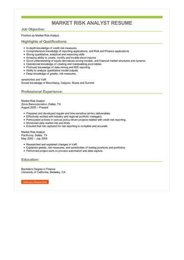 Market Risk Analyst Resume Sample \u2013 Best Format