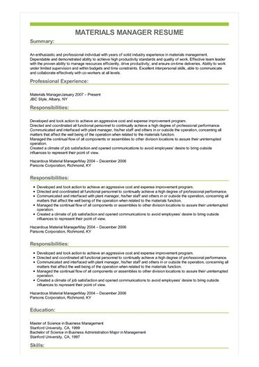 Sample Materials Manager Resume