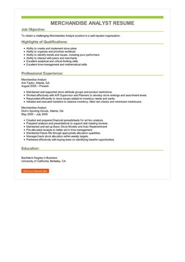 Merchandise Analyst Resume Sample \u2013 Best Format
