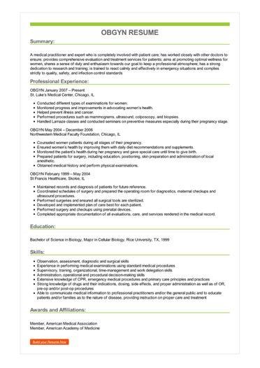 Sample OBGYN Resume