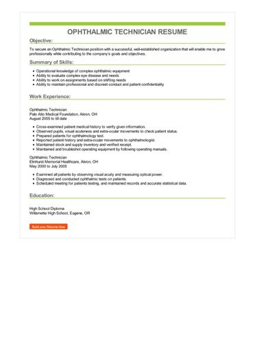 Ophthalmic Technician Resume Sample \u2013 Best Format