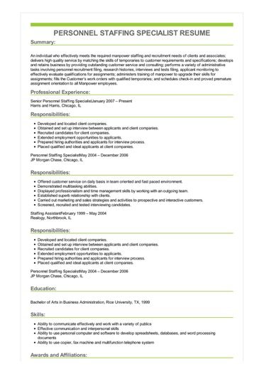 staffing specialist resume sample