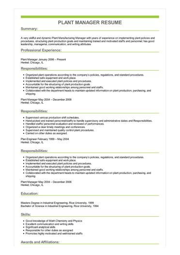 Sample Plant Manager Resume