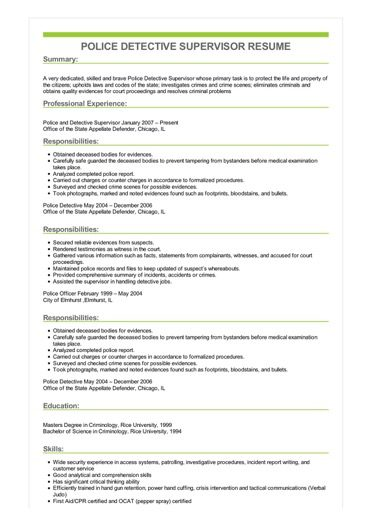 resume examples police supervisor