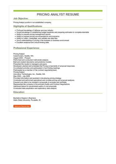 Pricing Analyst Resume Sample \u2013 Best Format