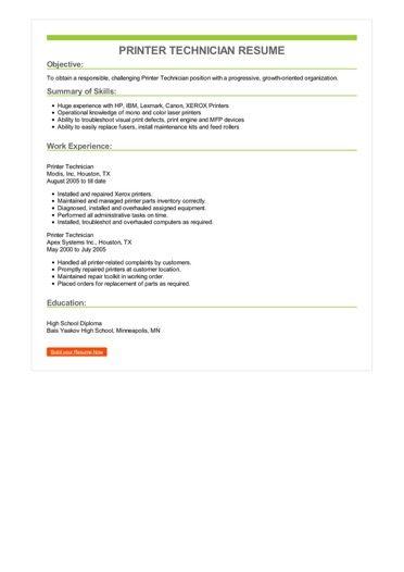 Printer Technician Resume Sample \u2013 Best Format