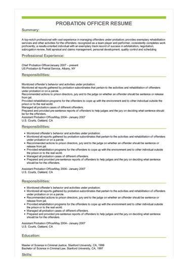 Sample Probation Officer Resume