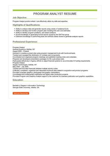 Program Analyst Resume Sample \u2013 Best Format