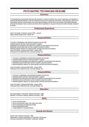 psychiatric resume sample