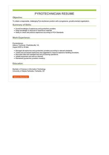 Pyrotechnician Resume Sample \u2013 Best Format