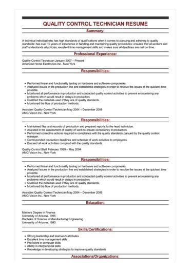 Sample Quality Control Technician Resume