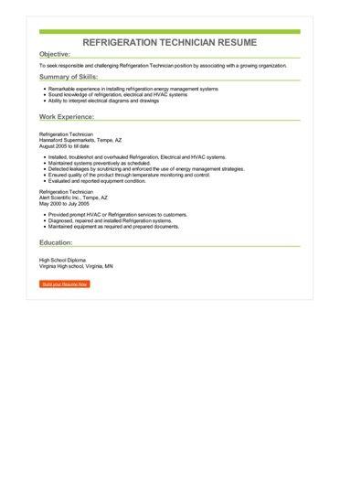 Refrigeration Technician Resume Sample \u2013 Best Format