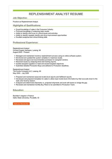 Replenishment Analyst Resume Sample \u2013 Best Format