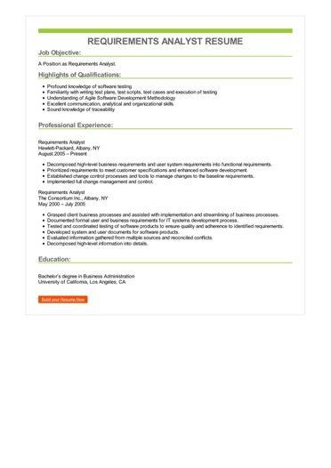 Requirements Analyst Resume Sample \u2013 Best Format