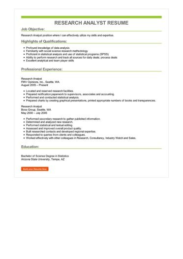 Research Analyst Resume Sample \u2013 Best Format