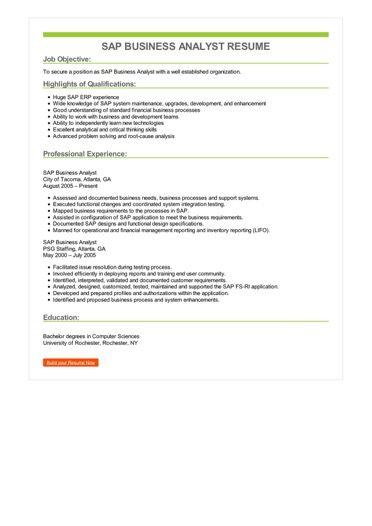 SAP Business Analyst Resume Sample \u2013 Best Format