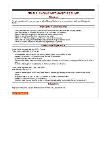 Sample Small Engine Mechanic Resume
