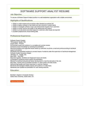 Software Support Analyst Resume Sample \u2013 Best Format