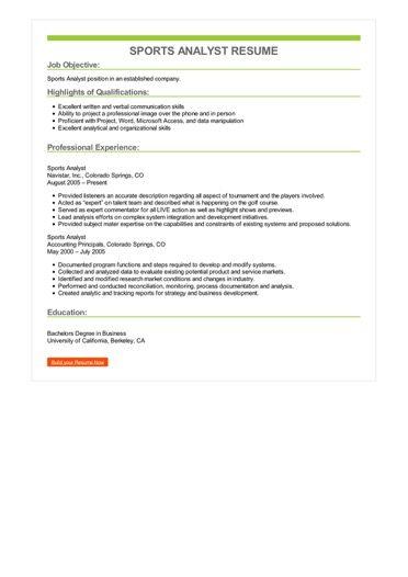 Sports Analyst Resume Sample \u2013 Best Format