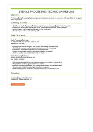 Sterile Processing Technician Resume Sample \u2013 Best Format