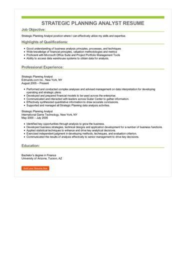 Strategic Planning Analyst Resume Sample \u2013 Best Format