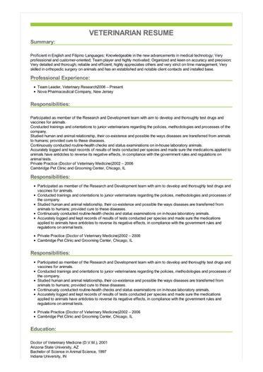 Sample Veterinarian Resume