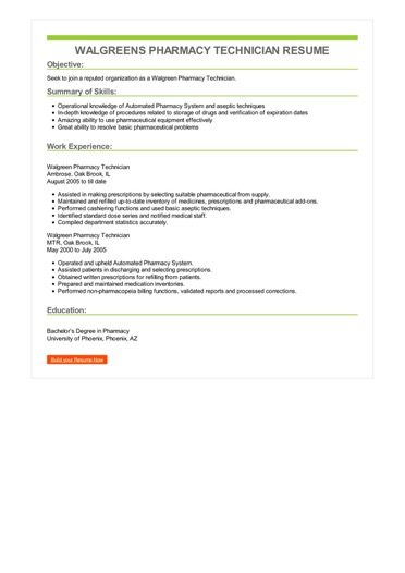 Walgreens Pharmacy Technician Resume Sample \u2013 Best Format