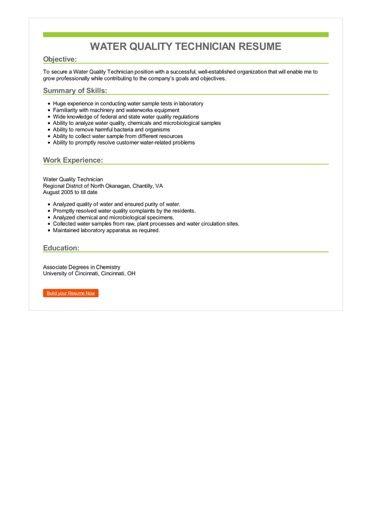 Water Quality Technician Resume Sample \u2013 Best Format