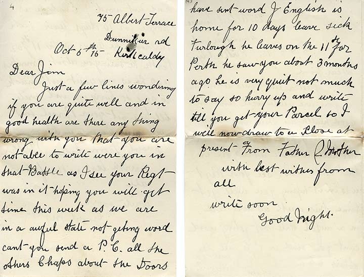 Letters to and from home  Great War Dundee - This is the story of - letters to the parents