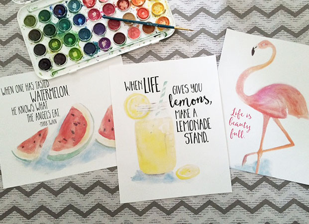 watercolor art prints with lemonade, watermelon and a flamingo