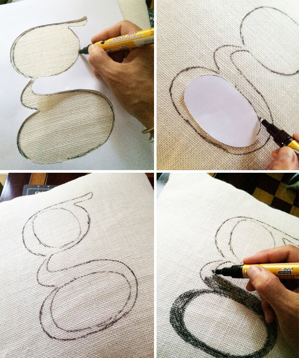 tracing with fabric pen