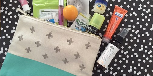 beauty emergency kit and DIY stamped pouch