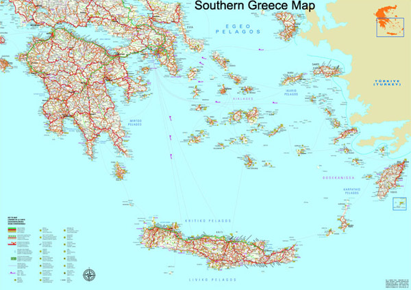Southern Greece map to download in high resolution - Greeka