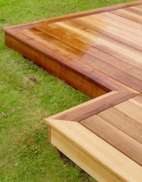 Cedar wood garden decking